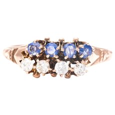 Sale! Victorian Sapphire and Diamond Ring in 14K Yellow Gold