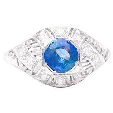 Sale! Art Deco Sapphire and Diamond Filigree Ring in Platinum