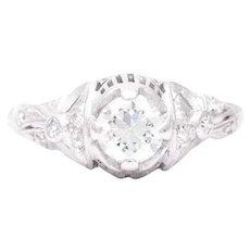 Sale! Fantastic Platinum Art Deco Filigree Engagement Ring
