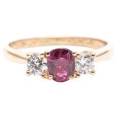 Sale! Vintage 0.90 Carat Ruby Diamond 14K Yellow Gold Three-Stone Ring