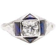 Belais Brothers Art Deco Diamond & Sapphire Engagement Ring