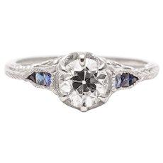 Sale! Art Deco Heart Motif 0.95 Carat Diamond and Sapphire Engagement Ring in Platinum