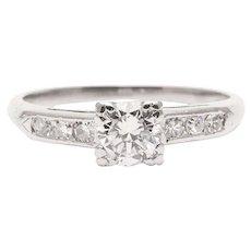 Sale! Mid-Century 0.62 Carat Diamond Engagement Ring in Platinum
