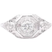 Art Deco Floral Diamond Solitaire Engagement Ring in 18 Karat White Gold