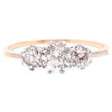 Edwardian 1.35 Carat Three-Stone Diamond Engagement Ring