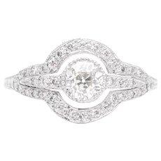 Art Deco 1.06 Carat Hand Engraved Diamond Engagement Ring in Platinum