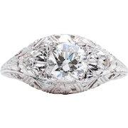 Art Deco Hand Engraved 0.78ct Diamond Filigree Engagement Ring in Platinum