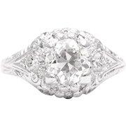 Floral Art Deco 1.26ct Diamond Engagement Ring in Platinum
