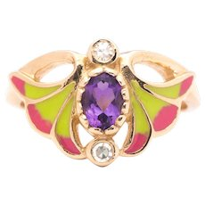 Art Nouveau Diamond, Amethyst, and Enamel Floral Ring in 14K Yellow Gold