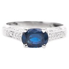 Sale! Scintillating Sapphire & Pave Diamond Ring in 14K White Gold