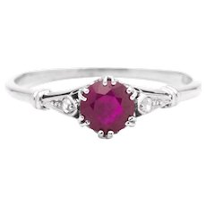 Art Deco Ruby and Diamond Heart Motif Ring in 18K White Gold