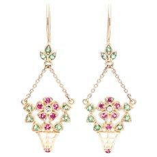 Charming Flower Basket Motif Edwardian Diamond, Ruby, & Emerald Earrings in 14K Yellow Gold
