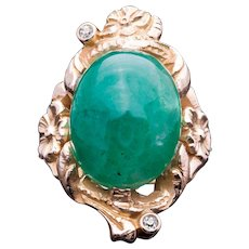 Floral Art Nouveau Cabochon Cut Emerald & Diamond Ring in 14K Yellow Gold