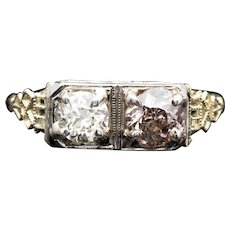 One of a Kind Art Deco 1.30ct Colorless & Champagne Diamond Filigree Ring in 14K Gold
