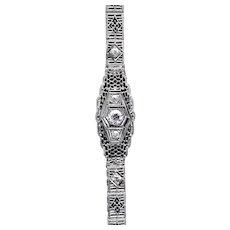 Art Deco 1.30ct Diamond Filigree Bracelet in 14K White Gold
