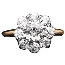 Exceptional Edwardian 2.40ct Diamond Engagement Ring in Platinum & Yellow Gold