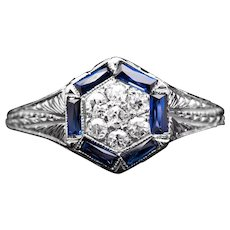 Art Deco Diamond & Sapphire Cluster Halo Ring in 18K White Gold