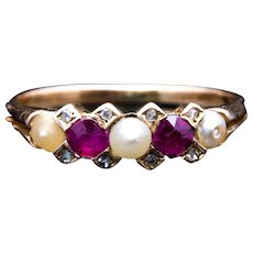 Victorian Ruby, Diamond, & Natural Pearl Ring
