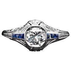 Art Deco Diamond & French Cut Sapphire Filigree Engagement Ring in Platinum