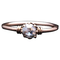Victorian Rose Cut Diamond Solitaire Engagement Ring in 14K Rose Gold