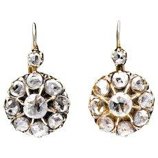 Georgian Rose Cut Diamond Earrings in 18K Yellow Gold