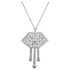 Spectacular Art Deco Geometric Diamond Pendant Necklace in Platinum
