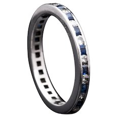 Vintage Sapphire & Diamond Eternity Band in Luxurious Platinum