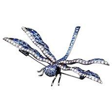 Diamond & Sapphire Dragonfly Brooch in 18K Gold
