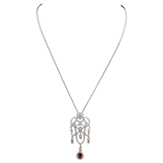 Elaborate Diamond and Ruby Drop Gold Necklace