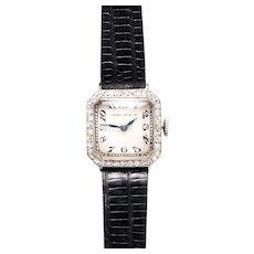 Art Deco Charlton & Co Diamond Ladies Wrist Watch in Platinum