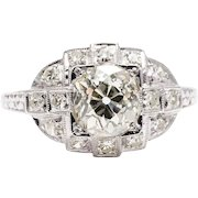 Hand Engraved Art Deco 1.74ct Diamond Engagement Ring in Platinum