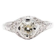 Sale! Sparkling Art Deco 1.00 Carat Diamond Engagement Ring in Platinum