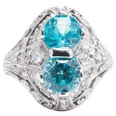 Art Deco Blue Zircon and Diamond Ring in Hand Engraved Platinum
