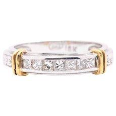 Princess Cut Diamond 18K White and Yellow Gold Wedding Band Ring