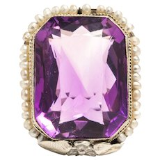 Art Deco Amethyst, and Pearl Filigree Ring in 18 Karat White Gold