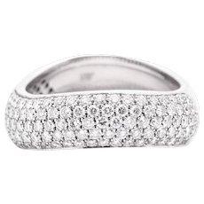 Pave Set 2.40ct Diamond 18K White Gold Wave Ring