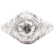 Hand Engraved Art Deco Diamond Engagement Ring in 18k White Gold