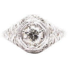 Sale! Hand Engraved Art Deco Diamond Engagement Ring in 18k White Gold