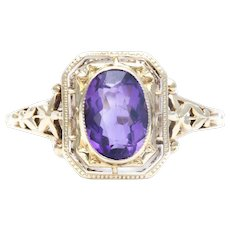 Sale! Art Nouveau Amethyst Solitaire Filigree Ring in 14k Yellow Gold