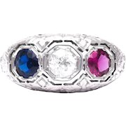 Patriotic Art Deco Ruby, Diamond and Sapphire Ring in 18K White Gold