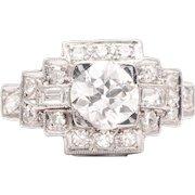 Art Deco 1.43ct Diamond Engagement Ring in Luxurious Platinum