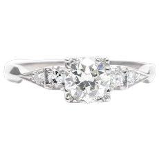 Art Deco 0.90 Carat Diamond Engagement Ring in Platinum