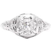 Art Deco 0.59 Carat Diamond Filigree Engagement Ring in 18k White Gold