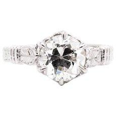 Luxurious 1.53ct Hand Engraved European Cut Diamond Engagement Ring in Platinum