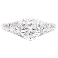 Sale! Art Deco 0.90 Carat Diamond Solitaire Engagement Ring in Platinum