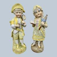 "11"" Pair 19th century German Children figures in Yellow"