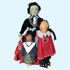 Lot of 3 Native American Indian Dolls- Navajo