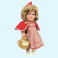 "Gorgeous 14"" Italian Plastic doll as Red Riding Hood ~ Original silk plaid dress"