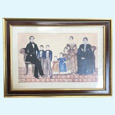 Vintage print of Early Family for doll room decoration