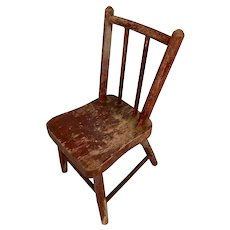 Doll Size Primitive Red Chair in original paint